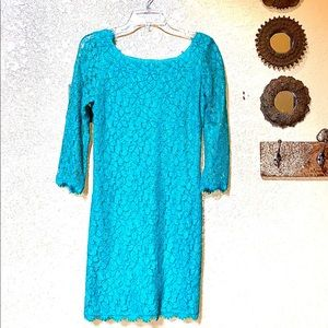 Gorgeous Green Turquoise Lace Designer Dress